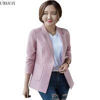 Wholesale Korean Long Blazers For Women - LXUNYI 2017 Spring Autumn New Suit Blazer Women Korean Style Office Blazers For Ladies Plus Size Slim Long Sleeve Female jackets