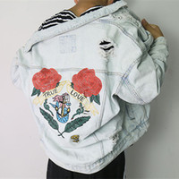 Wholesale Floral Jean Jacket - Denim Jacket Men 2018 Original Designs Rose Embroidery Patch Blue Jean Jacket For Men Hip Hop Distressed Hole Denim Jackets