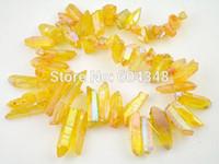 gelbe lose perlen großhandel-Full Strang Druzy Titanium Crystal Point Perlen, Druzy Quarz Stein lose Perle in gelb AB Farbe, Rock Crystal Drusy Chain Perlen