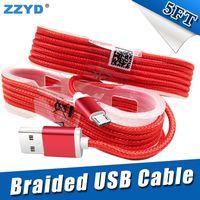 ingrosso spine di testa-ZZYD 1.5M 5FT cavo USB intrecciato micro caricatore intrecciato 5FT per Samsung HTC Sony Cellulari LG con spina testata in metallo
