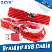 telefono de color al por mayor-ZZYD 1.5M 5FT trenzado USB Micro Cargador durable tipo C Cable para Samsung HTC Sony LG Teléfonos con enchufe de cabeza de metal