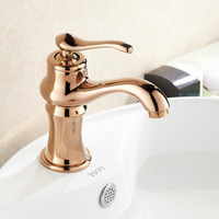 Wholesale Highest Quality Gold Bathroom Faucets - Free Shipping High Quality Solid Brass Single Handle Rose Gold Plated Bathroom Vanity Sink Faucet A4121