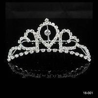 Wholesale Silver Headbands - 2015 Bridal Hair Jewelry Wedding Bridal Rhinestone Crown Princess Prom Cocktail Girl Tiara Accessories New Without Tags Silver Plated 18001