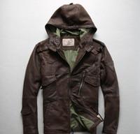 chaqueta de cuero marrón hombres venta al por mayor-Venta caliente marrón Avirex fly hombres chaquetas de cuero chaquetas de cuero de vuelo hombres al aire libre de cuero genuino chaqueta de vuelo con capucha