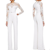 Wholesale Womens Sexy Pants Suits - 2015 White Elie Saab Mother Of The Bride Pant Suits Jumpsuit With Long Sleeves Lace Embellished Womens Formal Dresses Evening Wear