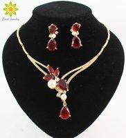 colar de contas azuis vermelhas venda por atacado-18 K Banhado A Ouro Preto / Azul / Vermelho / Roxo Zircon Contas de Cristal Pingentes de Colar Brinco Define Moda Feminina Partido Conjuntos de Jóias