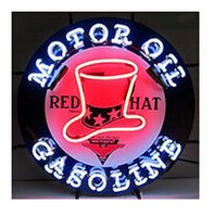 "Wholesale Gas Signs - Motor Oil Red Hat Gasoline Neon Sign Gas Station Oil Store Custom Handmade Real Glass Tube Display Neon Signs Without Base 24""X24"""