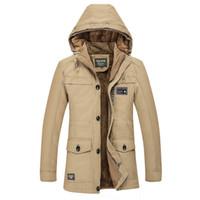 gabardina de gran tamaño para hombre al por mayor-Al por mayor-Thick Cashmere cálido abrigo de hombres de abrigo abrigo de invierno cazadora de algodón con capucha para hombre capucha chaquetas largas trenchcoat M-6XL de gran tamaño