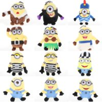 Wholesale Minions Plush Dolls - XS NEW 20CM 12 Style Grab Machine Baby Doll Big Eye Cute Minions Plush Toys Mix Wholesale