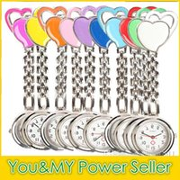 Wholesale Double Hung - Double heart Nurse Watch Quartz Pocket Doctor Watches Steel Fob Watch Sweet Heart Hanging Nurse Watches Fashion medical watches