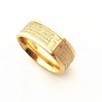aguafuerte de acero inoxidable al por mayor-El Padrenuestro y la Oración de la Serenidad Gold palted English Stainless Steel Etching Cross Rings Jewelry Para hombre mujer