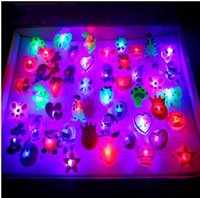 Wholesale Led Flash For Adults - Novelty LED Flashing Toy Soft Rubber Ring Kids Toys Cartoon Design Party Decoration Supplies Christmas Gift For Adults and Children