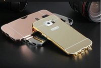 Wholesale S4 Bumpers - for Samsung GALAXY S3 S4 S5 S6 S6 EDGE S7 S7 EDGE J2 PRIME J5 PRIME Mirror Luxury Metal Aluminum Bumper Frame PC Back Cover 10PCS LOT