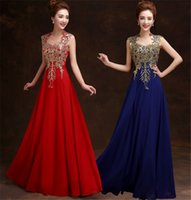 Wholesale silk embroidered pictures - Embroidery print dress Red Sexy Lace Evening Dresses See Through Back Sequins Lace Applique Prom Dresses Evening Gowns