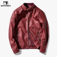 erkek deri ceketleri toptan satış-Toptan-Kenntrice 2017 Kırmızı Deri Ceket Mens Gençlik Bahar Sonbahar Yüksek Kaliteli Erkek Deri Ceketler Moda Kırmızı Mavi Adam Deri Ceket