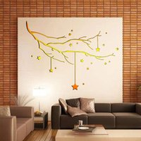 Hot Sale Golden Bright Star Wall Autocollant Autocollant de Noël Christmas Decal 56.3 * 81cm Waterproof Fashion Removable Home Decor