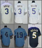 Wholesale Robin Baseball - Milwaukee #3 Orlando Arcia 4 Paul Molitor 5 Jonathan Villa 19 Robin Yount Blue White Pullover Throwback Retro Flexbase Jersey