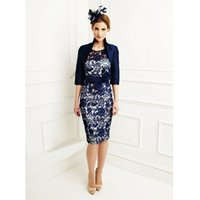 Wholesale Champagne Half Jackets - 2017 Lace Mother of the Groom Dresses Half Sleeve Scoop Neckline Bow Sash Sheath Knee Length Short Mum's Gowns Free Jacket Royal Blue