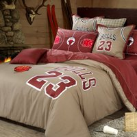 Wholesale Top Selling Bedding Sets - Wholesale-Top Selling bedding set for boys Chicago basketball print cotton duvet cover bed sheet bed linen bedclothes bed set 4 5pcs queen