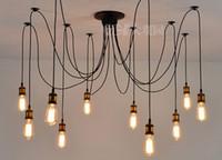 lampes ampoules achat en gros de-Rétro lustre classique10 E27 groupe de douille d'ampoule pendentif lampe d'araignée d'or Edison éclairage de bricolage lampes lanternes accessoires fil messager