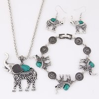 Wholesale European Necklace Earring Sets - 2016 New European Fashion Metal Personality Antique Turquoise Elephant Jewelry sets Necklace Earrings Bracelet Sets For Women