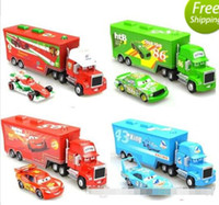 Wholesale Toy Models Cars Trucks - Cars 2 Mack Chick hauler Thai Pixar Car Lightning Hick Truck Toy car Kid 4 color with little car BY0909