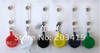 Wholesale Round Plastic Name Badge Holder - 18%OFF SALE 25 Pieces Lot wholesale retail ID holder name tag card key Badge Reels Round Solid Plastic Clip-On Retractable pul