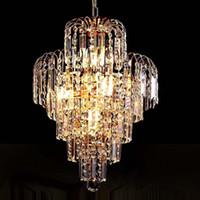 Wholesale Gold Lighting K9 Crystal Lamp - Wholesale-Luxury Royal Gold Crystal K9 Chandelier Pendant Lamp Crystal Golden Chandeliers Hall Living Room Lighting Wedding Decoration
