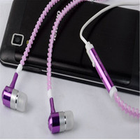 Wholesale Headphones Line Microphone - Headphones Luminous Metal Zipper with Microphone Headphones Overweight Bass Line Control Calling For Mobile Phones Wired Headphones 3.5mm
