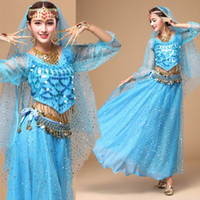 Wholesale Long Belly Dancing Skirts - free shipping belly dance autumn and winter long sleeved suit India dance performance service adult dance performance long skirt