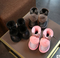 Wholesale Thick Fabric Wholesale - Kids winter boots shining girls cute rabbit bunny ears thick bottom snow booties fashion new children plush pompon ankle boots R1313