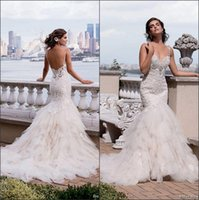 Wholesale Layered Beach Summer Wedding Dress - 2016 New Spaghetti Straps Lace Mermaid Wedding Dresses Beaded Tulle Layered Court Train Summer Beach Bridal Gowns