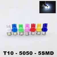 Wholesale 12v Led Wedge Bulb Red - 20pcs lot T10 12V Colorful 5 SMD 5050 LED 194 168 W5W Car Side Wedge Tail Light Lamp License Plate Bulb Red Blue White Green pink car lights
