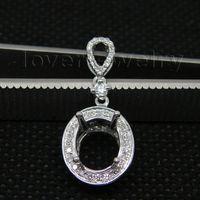 Wholesale Oval Diamond Pendant Semi Mount - Wholesale-New Elegant Vintage Oval 7x9mm Solid 14Kt White Gold Natural Diamond Semi mount Pendant WP20