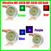 Wholesale Cree R5 Bulb - UltraFire Flashlight CREE R5 1-Mode 380Lm Lamp LED Bulb Red Green Blue Purple Light Torch Replacement For WF-502B WF-501B Free Shipping