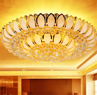 Wholesale Led Lotus Crystal Lamp - Golden Lotus crystal lamp living room bedroom cornucopia led round ceiling lamp chandelier light lighting with remote control