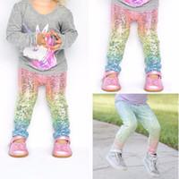 Wholesale Gradient Color Leggings - Kids Clothing Mermaid Style Baby Girl Leggings Print Gradient Color Casual Long Pants Trousers Elastic Slim Fitness Leggings for 2-6 Years