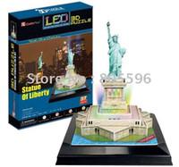 Wholesale 3d Puzzle Card Models - Wholesale-(Paper model)LED Light Building ,3D DIY Models,Home Adornment,Puzzle Toy,Paper model,Papercraft,Card model, STATUE OF LIBERTY