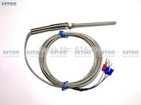 Wholesale Resistance C - Wholesale-NEW PT100 probe 2m RTD Cable Stainless Probe 100mm 2 Wires Temperature Sensor -50 C to + 400 C