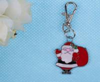 Wholesale lobster clasp silver swivel resale online - Vintage Silver Enamel Santa s Rear Charms Lovers Swivel Lobster Clasp Keychain Ring For Keys Car DIY Bag Key Chain Handbag Gift PC L1145