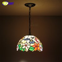FUMAT estilo europeo Tiffany Stained Glass Vintage lámparas para sala de estar Coffee Bar luces colgantes Brids Glass LED lámparas colgantes