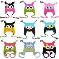 Wholesale Handmade Owls - 30pcs Toddler Owl Ear Flap Crochet Hat Children Handmade Crochet OWL Beanie Hat Handmade OWL Beanie Kids Hand Knitted Hat