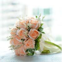 Wholesale Holding Flowers - Emulational Champagne Rose Bride Wedding Holding Flower Bride Wedding Bouquet 18 Flowers Bouque De Noiva