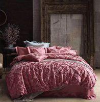 Wholesale Silk Beddings - 2016 Recommend High Grade Luxury 4pcs Bedding Sets Silk Cotton Satin Jacquard Beddings Handmade Lattice Design Royal Style Queen Size