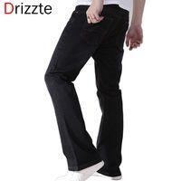 Wholesale Black Flare Pants Mens - Wholesale-Drizzte Mens Black Blue Boot Cut Jeans Plus Size 28 to 48 Big Denim Jean Flare Bell Bottom Flare Pants Trousers For Men