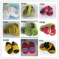Wholesale walker slippers resale online - Crochet baby sandals first walker shoes colors infant slippers delicate crocheting M cotton yarn