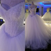 Wholesale Pricess Wedding Dresses - Luxury Ball Gown Plus Size Wedding Dresses Crystal Beaded Tulle Pricess Victorian Bridal Gowns Real Pictures Vestido de Novia