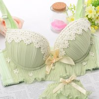Wholesale Thick Underwear Pads - 3 colors Japanese sexy lace female underwear 4 breasted thick green adjustable push up bra panties women diamond lingerie set