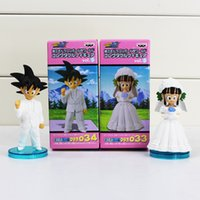 Wholesale Dragon Ball Action Toy - DRAGON BALL Son Goku ChiChi Wedding scene PVC Dolls Toys Movie WCF DWC7 Action Figure Free shipping