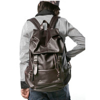 Wholesale Cheap Backpacks For Men - Wholesale-Men's Cheap Backpack for Men Faux Leather School Backpack Women PU Leather Rucksack Coffee and Black Back Pack Two Colors